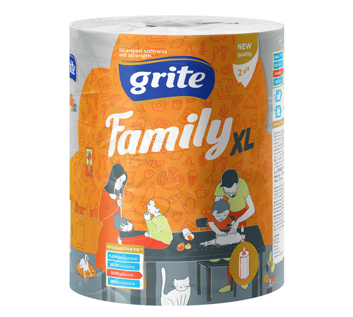 Полотенце бум. Grite Family XL 2-хслойн. бел.